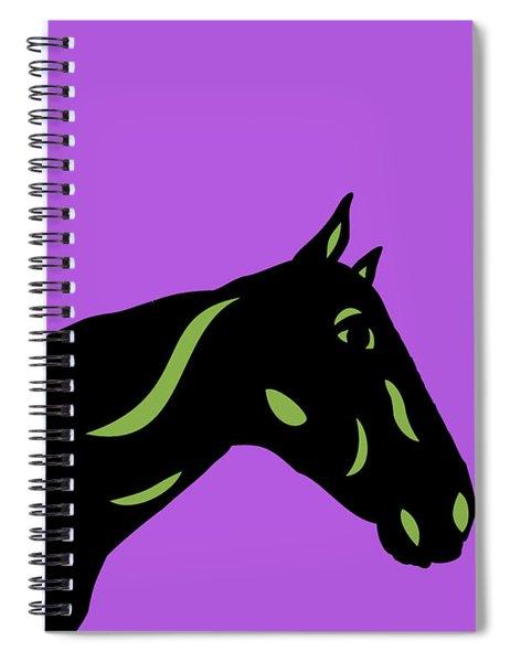Spiral Notebook featuring the digital art Crimson - Pop Art Horse - Black, Greenery, Purple by Manuel Sueess