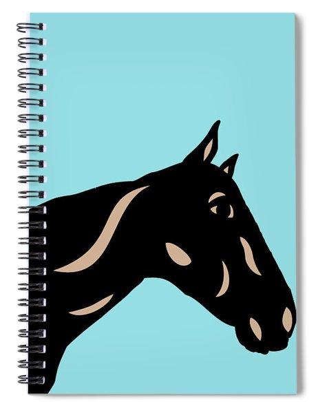 Spiral Notebook featuring the digital art Crimson - Pop Art Horse - Black, Hazelnut, Island Paradise Blue by Manuel Sueess