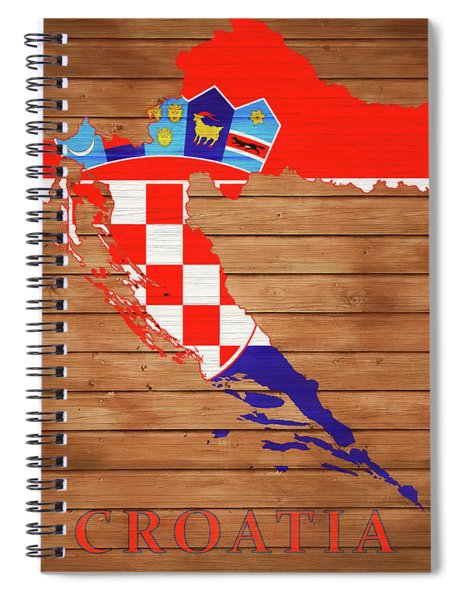 Croatia Rustic Map On Wood Spiral Notebook