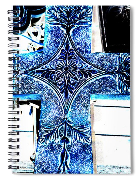 Cross In Blue Spiral Notebook