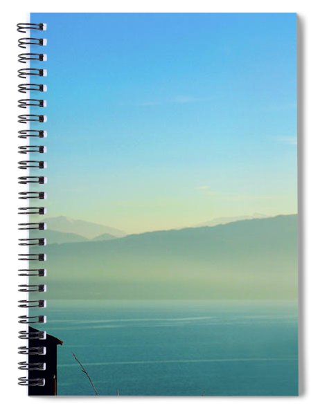 Cross In Front Of Misty Mountains Of Greece Spiral Notebook