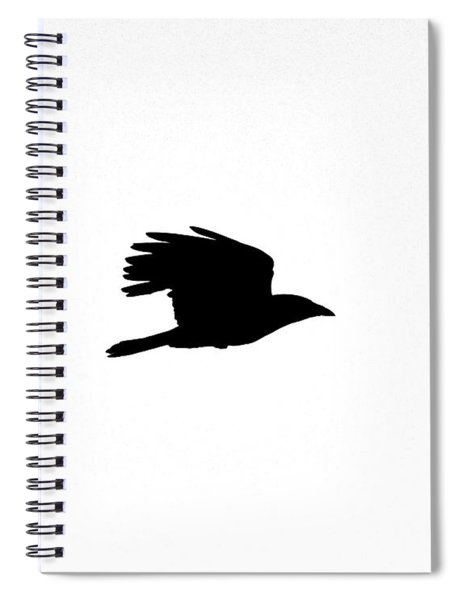 Crow In Flight Silhouette Spiral Notebook