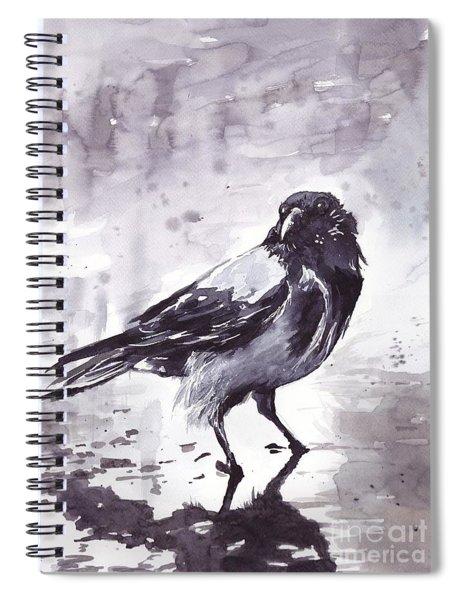 Crow Watercolor Spiral Notebook