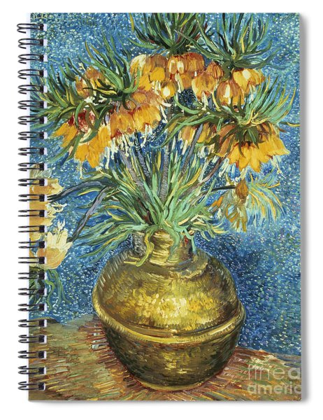 Crown Imperial Fritillaries In A Copper Vase Spiral Notebook