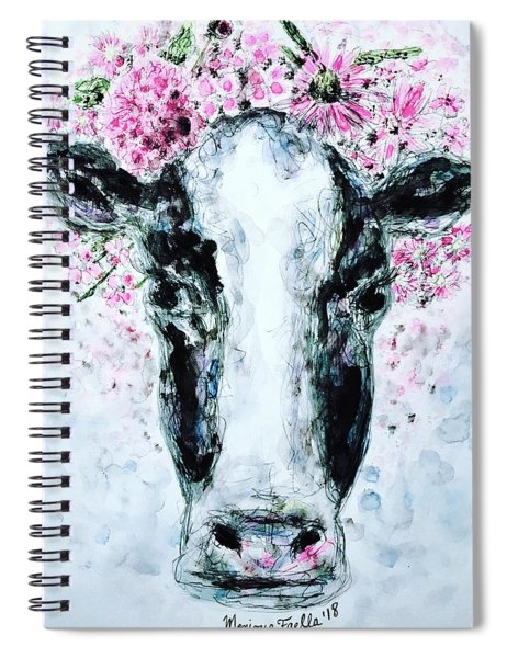 Crown Of Flowers Cow Spiral Notebook