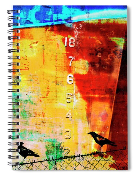 Crows By The Numbers Mixed Media Spiral Notebook