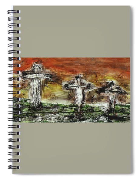 Spiral Notebook featuring the painting Crucifixion #2 by Michael Lucarelli