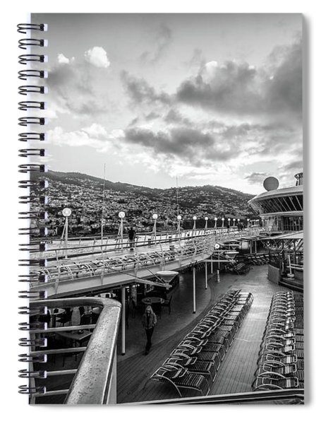 Cruise Ship Sunrise Arrival In Funchal, Portugal, Blk Wht Spiral Notebook