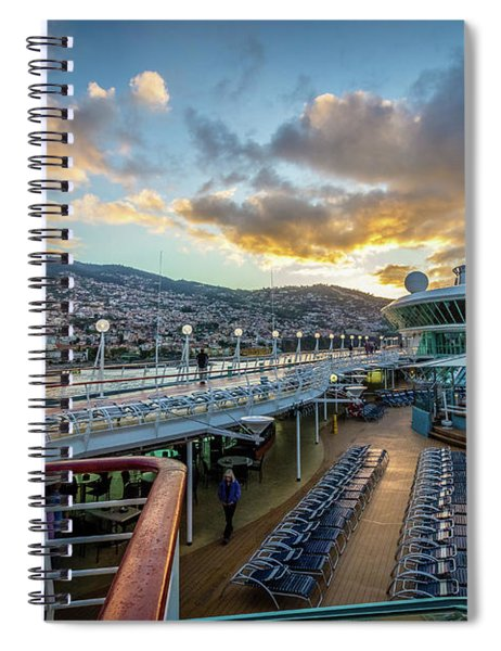 Cruise Ship Sunrise Arrival In Funchal, Portugal Spiral Notebook