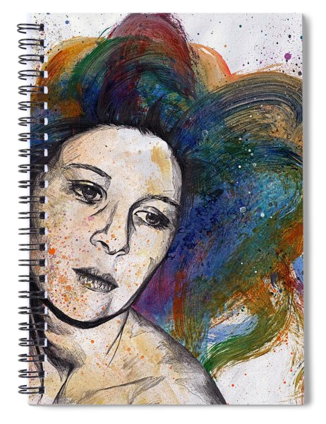 Crystal - Street Art Female Portrait With Rainbow Hair Spiral Notebook