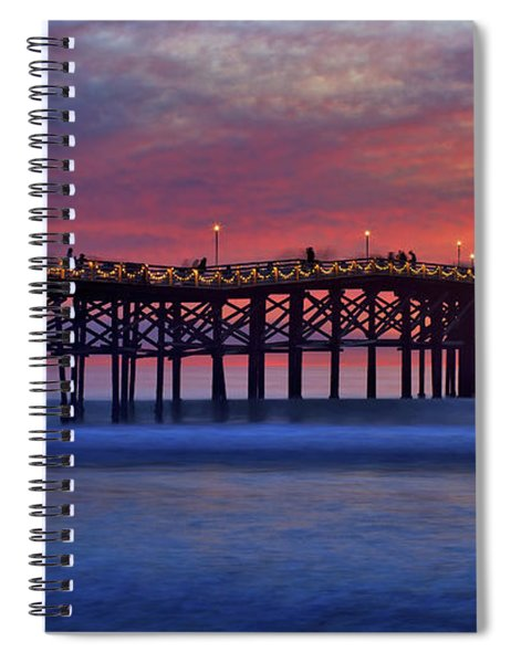 Crystal Pier In Pacific Beach Decorated With Christmas Lights Spiral Notebook