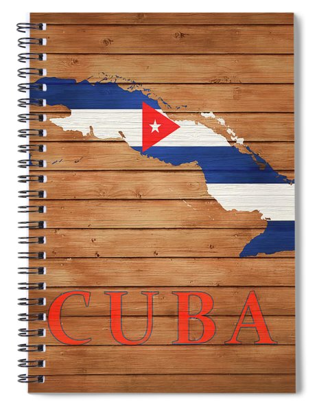 Cuba Rustic Map On Wood Spiral Notebook