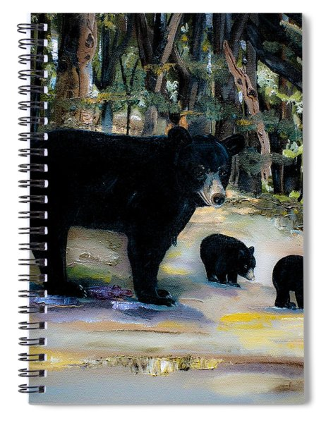 Spiral Notebook featuring the painting Cubs With Momma Bear - Dreamy Version - Black Bears by Jan Dappen