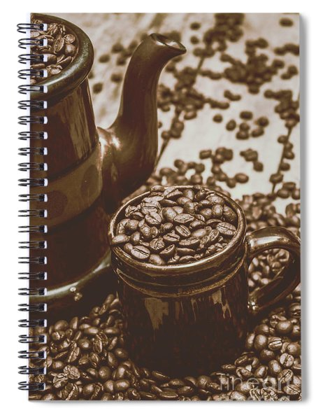 Cup And Teapot Filled With Roasted Coffee Beans Spiral Notebook