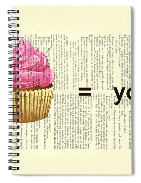 Pink Cupcake Equals You Print On Dictionary Paper Spiral Notebook