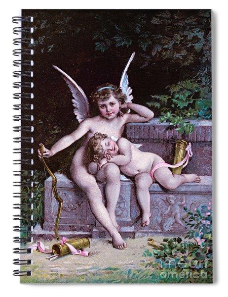Cupid On A Bench - Vintage Valentine Postcard Spiral Notebook