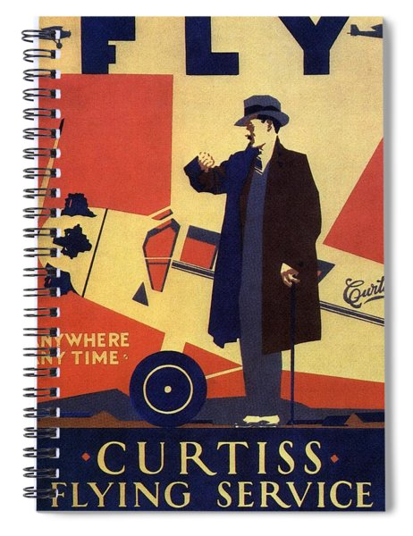 Curtiss Flying Service - Art Deco Poster - Vintage Advertising Poster  Spiral Notebook