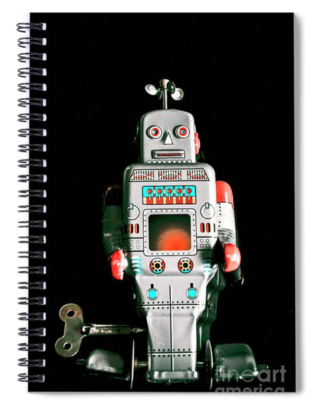 Cute 1970s Robot On Black Background Spiral Notebook