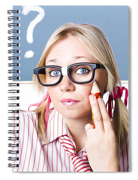 Cute Blond Girl In Glasses Asking Big Question Spiral Notebook