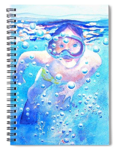 Cute Child Snorkeling Underwater Spiral Notebook