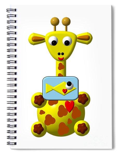 Cute Giraffe With Goldfish Spiral Notebook