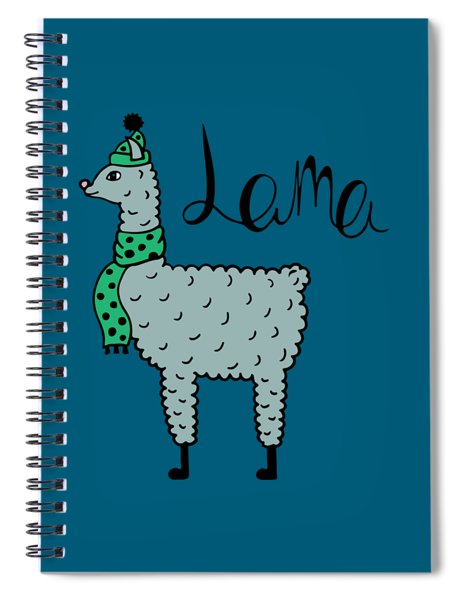Cute Hand-drawn Illustration Of A Lama In A Cap And A Scarf Spiral Notebook