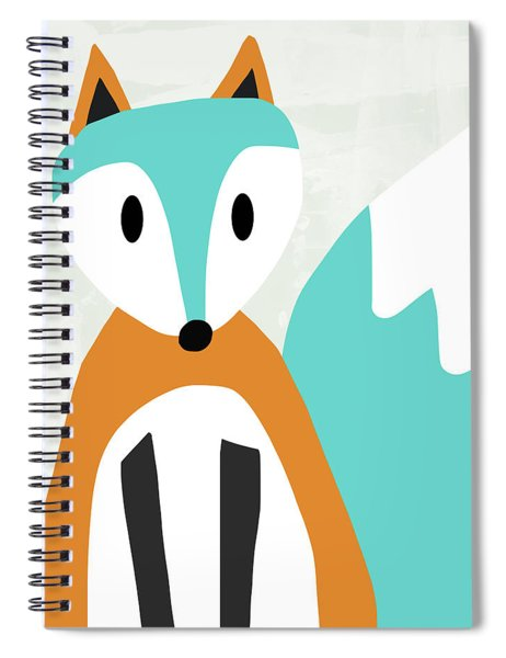 Cute Orange And Blue Fox- Art By Linda Woods Spiral Notebook