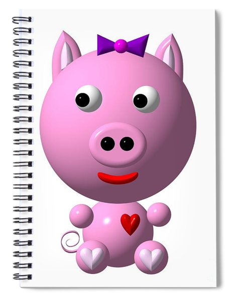 Cute Pink Pig With Purple Bow Spiral Notebook