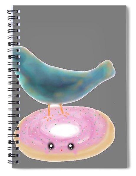 Kawaii Donut And Blue Bird  Spiral Notebook