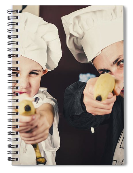 Dad And Son Cooks Shooting With Bananas In Kitchen Spiral Notebook