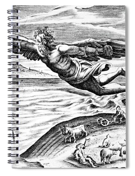 Daedalus Escaping From Crete With His Son, Icarus, Sees Him Falling To His Death Spiral Notebook