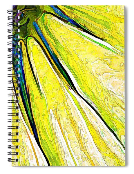 Daisy Petal Abstract In Lemon-lime Spiral Notebook