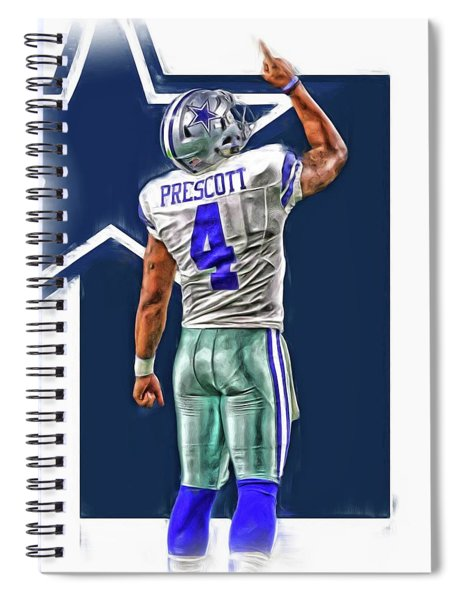 Dak Prescott Dallas Cowboys Oil Art Series 2 Spiral Notebook