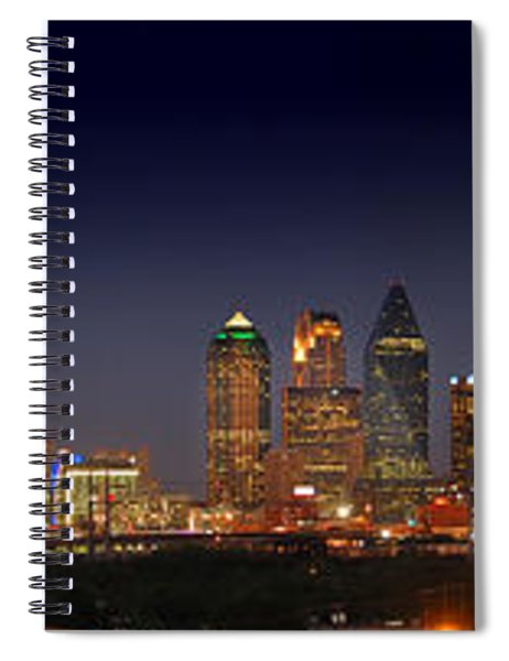 Dallas Skyline At Dusk Big Moon Night  Spiral Notebook