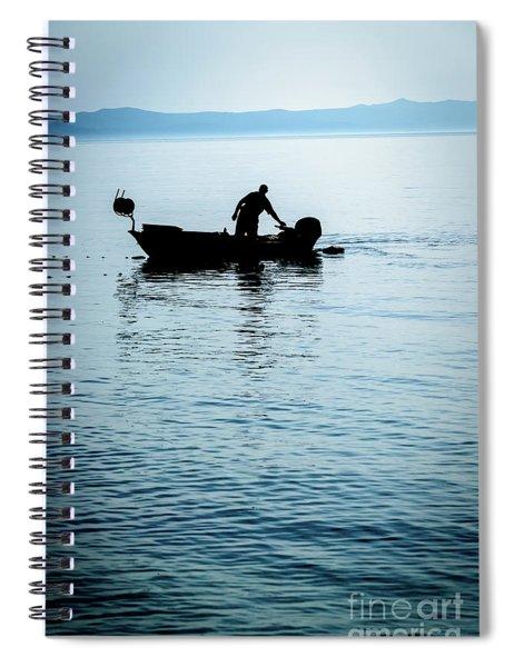 Dalmatian Coast Fisherman Silhouette, Croatia Spiral Notebook