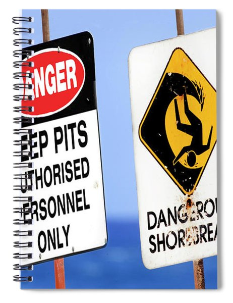 Dangerous Surf Warning Signs At Pipeline On Oahu's North Shore.  Spiral Notebook