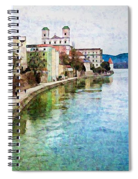 Danube River At Passau, Germany Spiral Notebook