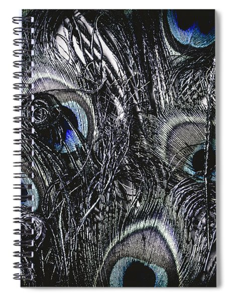 Dark Blue Peacock Feathers  Spiral Notebook