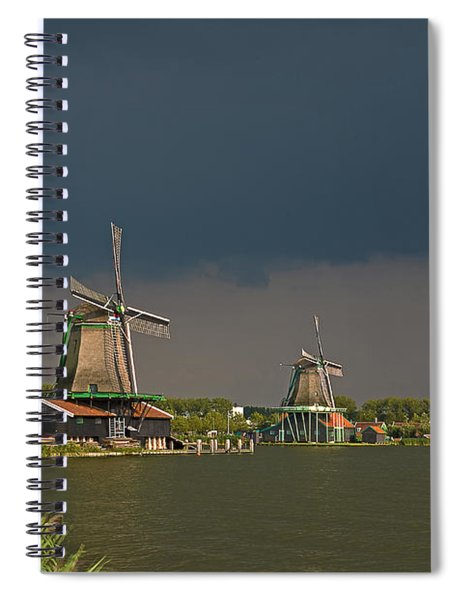 Dark Clouds Above Zaanse Schans Spiral Notebook