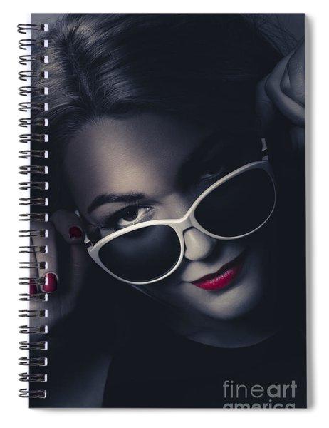 Dark Fashion Portrait. Female Model In Sunglasses Spiral Notebook