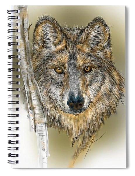 Dark Wolf With Birch Spiral Notebook