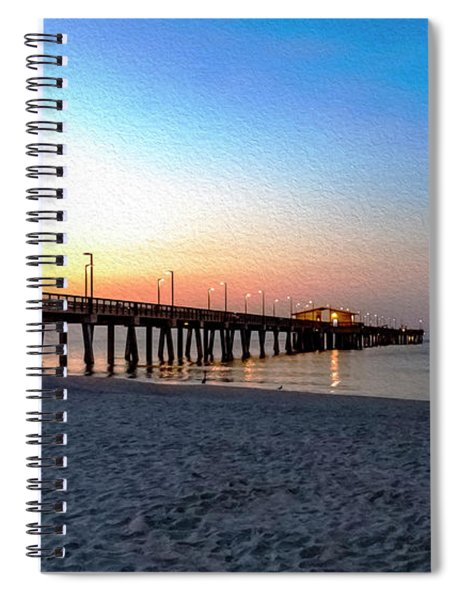 Dawn At Gulf Shores Pier Al Seascape 1283a Digital Painting Spiral Notebook