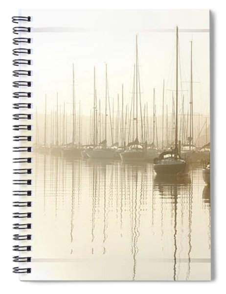 Dawn Reflections - Yachts At Anchor On The River Spiral Notebook