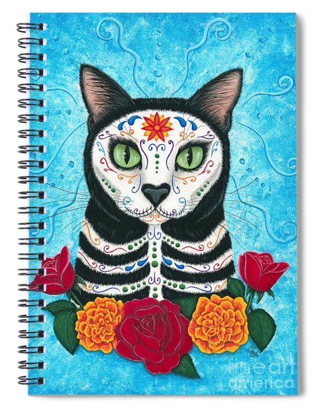 Day Of The Dead Cat - Sugar Skull Cat Spiral Notebook