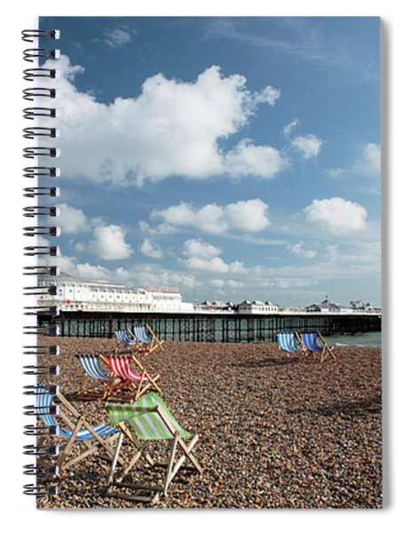 Deckchairs On Brighton Beach Spiral Notebook