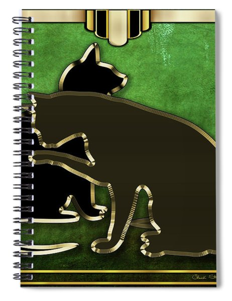 Deco Cats - Emerald Spiral Notebook