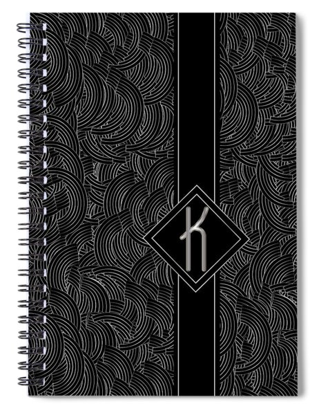 Deco Jazz Swing Monogram ...letter K Spiral Notebook
