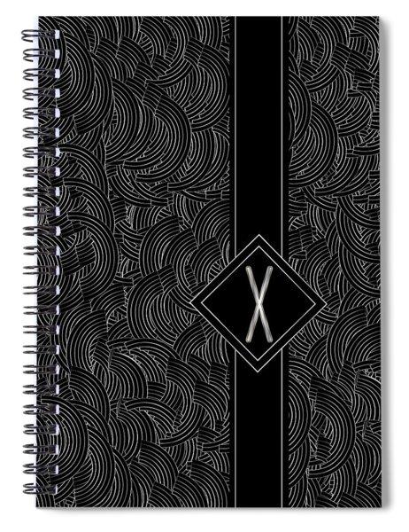 Deco Jazz Swing Monogram ...letter X Spiral Notebook