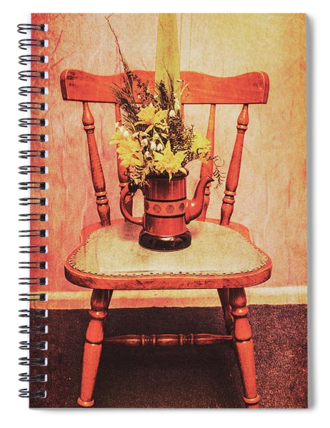 Decorated Flower Bunch On Old Wooden Chair Spiral Notebook