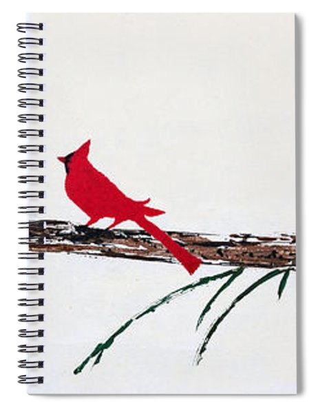 Spiral Notebook featuring the painting Decorative Cardinals A101216 by Mas Art Studio